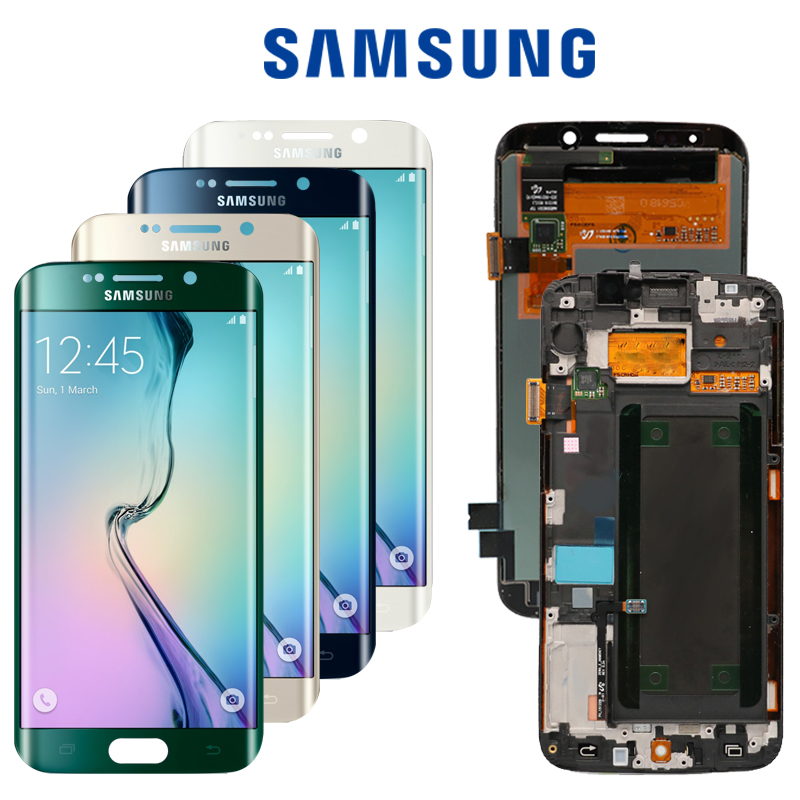 5 1 ORIGINAL SUPER AMOLED LCD with Frame for SAMSUNG Galaxy s6 edge Display G925 G925I
