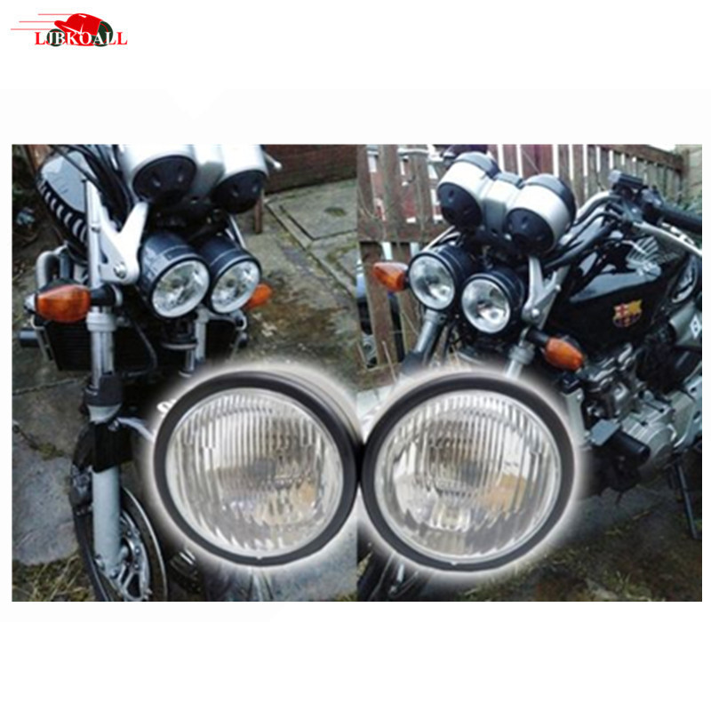 4 Black H4 Dominator Motorcycle Headlight Dual Head Lamp For Streetfighter Cafe Racer wi ...