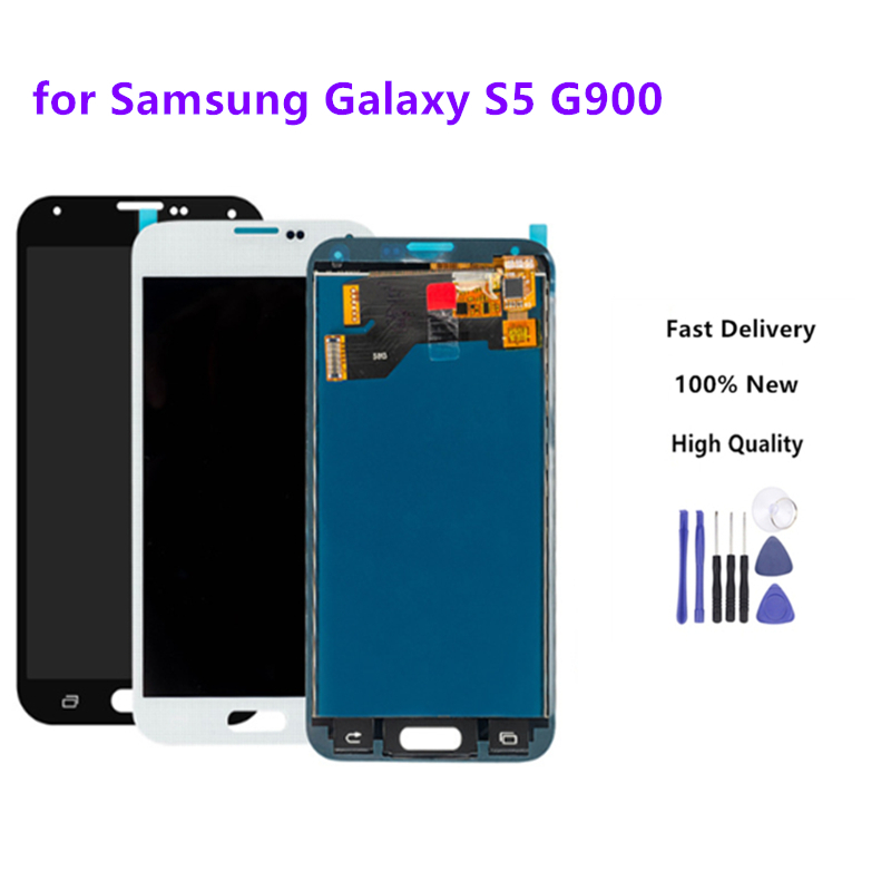 1 Pcs Original For Samsung S5 G900F <font><b>G900</b></font> <font><b>Display</b></font> LCD Screen Touch Digitizer Assembly Compatible No Home Button image