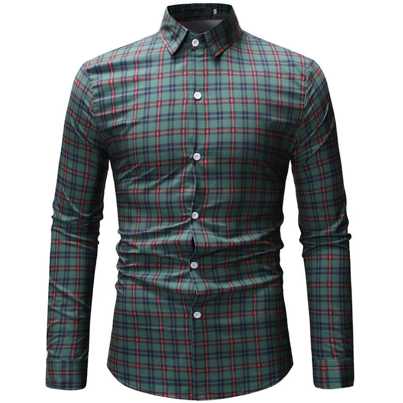 7b7ff365 2019 New Spring Summer Shirt Men Plaid Casual Long sleeve Men Shirts Slim  Fit Streetwear Camisa Male Beach Hawaiian Shirt Men