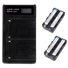 2 Pcs Np F550 Battery And Lcd Dual Battery Usb Charger For Sony Np F550 Battery