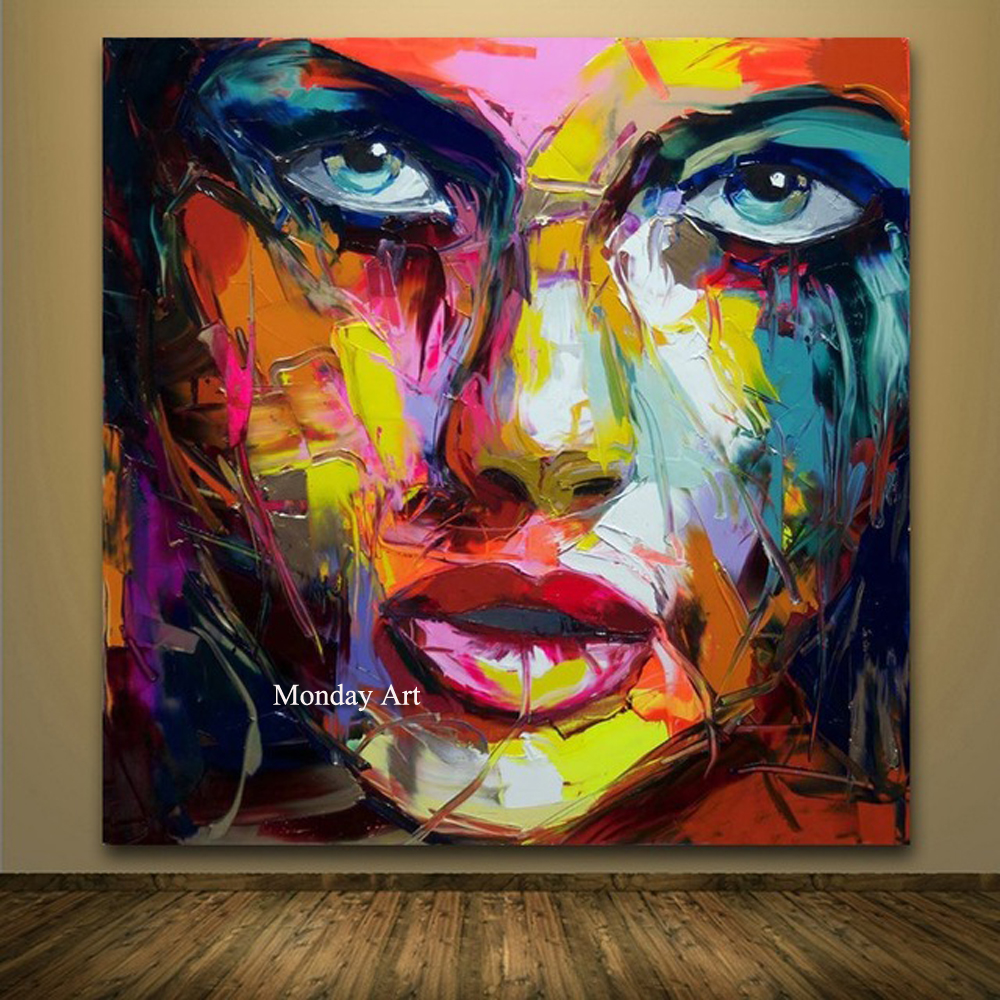 Large Size Hand Painted Abstract Figure Oil Painting On Canvas Woman Face Wall Pictures For Living