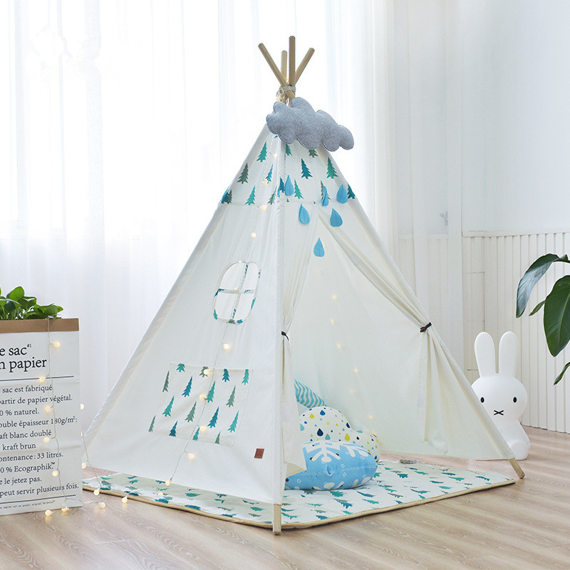 Pure Cotton Canvas Indoor Kids Play Teepee Tent Chidren Indian Wigwam Tent hot sale eco friendly tent for kids cotton canvas toys tent