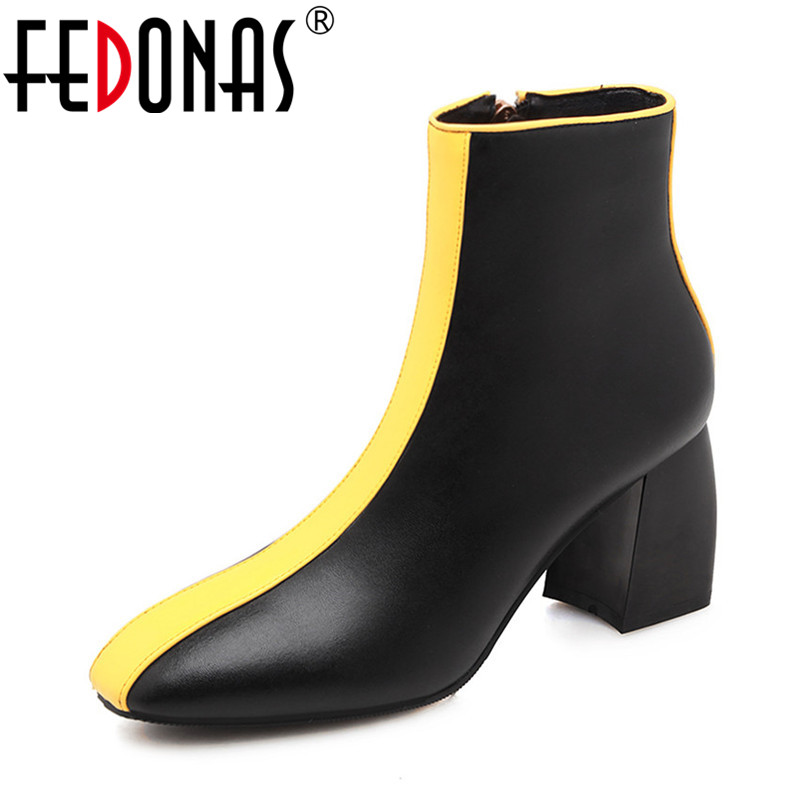 FEDONAS New Arrival Women Ankle Boots Cow leather Autumn Winter Square Toe Party Ladies Shoes Woman