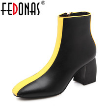 FEDONAS New Arrival Women Ankle Boots Cow leather Autumn Winter Square Toe Party Ladies Shoes Woman Brand Motorcycle Boots Pumps