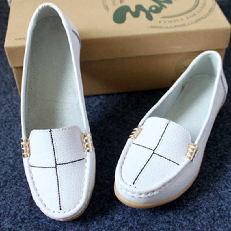 Leather Shoes Loafers Super Soft Genuine at the Casual With Flats Rubber Outsole New Leisure shoes
