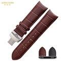 Correa de reloj para hombre correa de reloj de pulsera de cuero genuino 22 23 24mm venda de reloj para T035 627A 439 accesorios hebilla de Mariposa