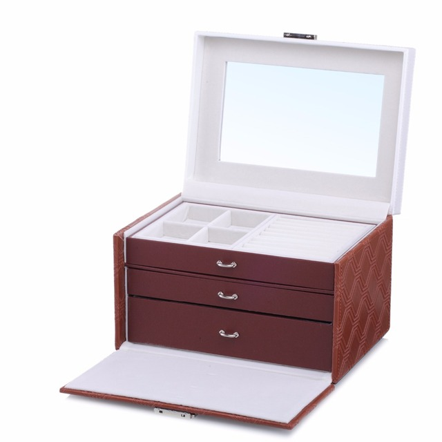 ROWLING Large Jewellery Storage Boxes Rings Velvet Mirror Boxes Bracelet Earring 2 Drawers Display Case Girls