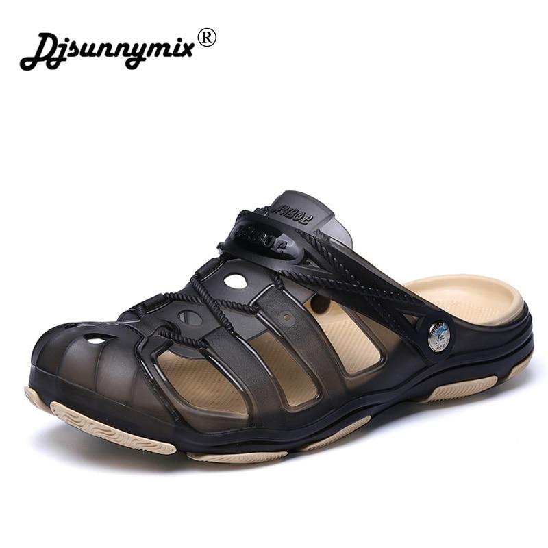 DJSUNNYMIX Beach Men's Flip Flops Sandals Men Summer Shoes Male Casual Shoes Men Slippers Flats Jelly Shoes все цены