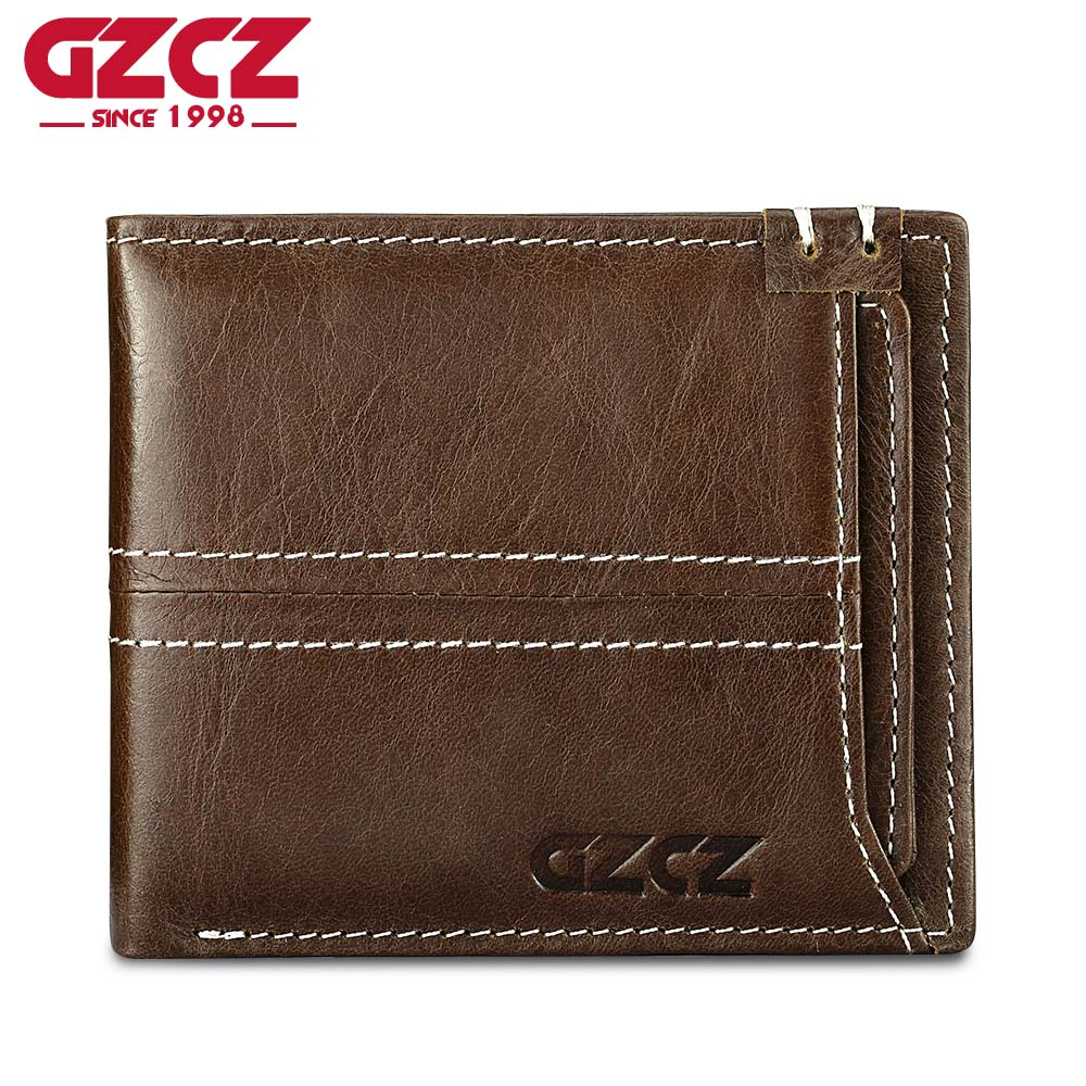 GZCZ Genuine Leather Mens Wallets With Detachable Credit Card Holder Luxury Brand Male Walet Vintage Style Money Purse Pocket
