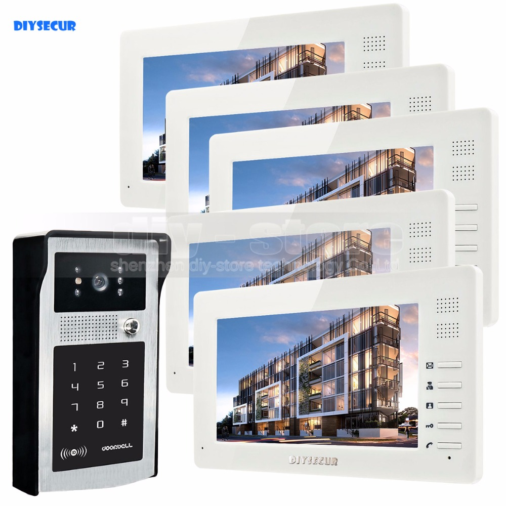 DIYSECUR 7inch 1024 x 600 HD TFT LCD Screen Video Door Phone Video Intercom Doorbell RFID Reader + Password HD Touch Camera 1V5 diysecur 1024 x 600 7 inch hd tft lcd monitor video door phone video intercom doorbell 300000 pixels night vision camera rfid