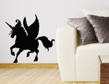 High Quality FaIry Unicorn Wall Sticker Home Kids Bedroom Wall Sticker Horse With Wrings Silhouette Art Vinyl Wall Poster Q-100