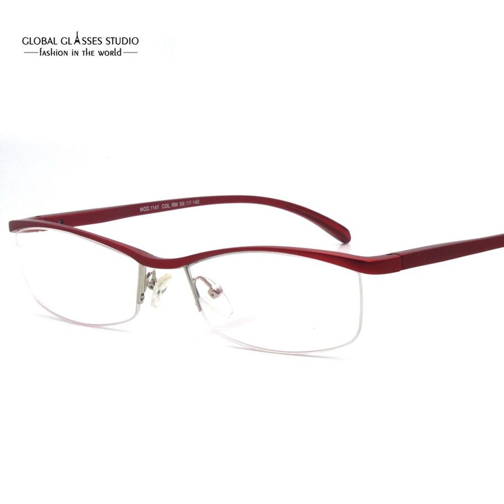 Extremely Light Streamline Red Purple Orange Eyeglasses Wholesale Fashion Women Optical Half Frame made of Aluminum MOD1141