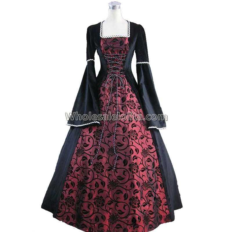 Medieval Renaissance Fair Queen Velvet Brocade Ball Gown Dress ...