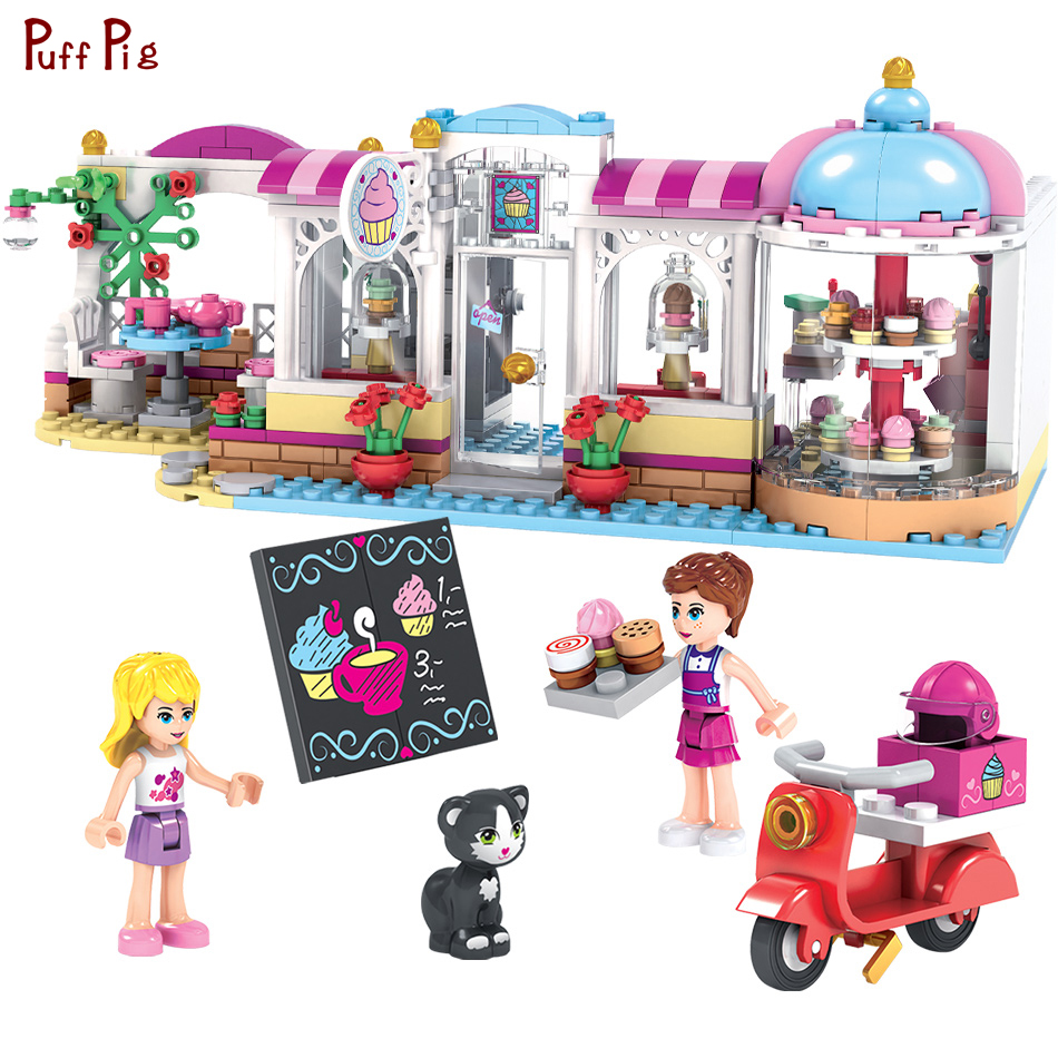 460pcs City Girls Coffee Cake Shop Model Friend Building Blocks Sets Compatible Legoed Friends Bricks Kids Classic Toys Gifts