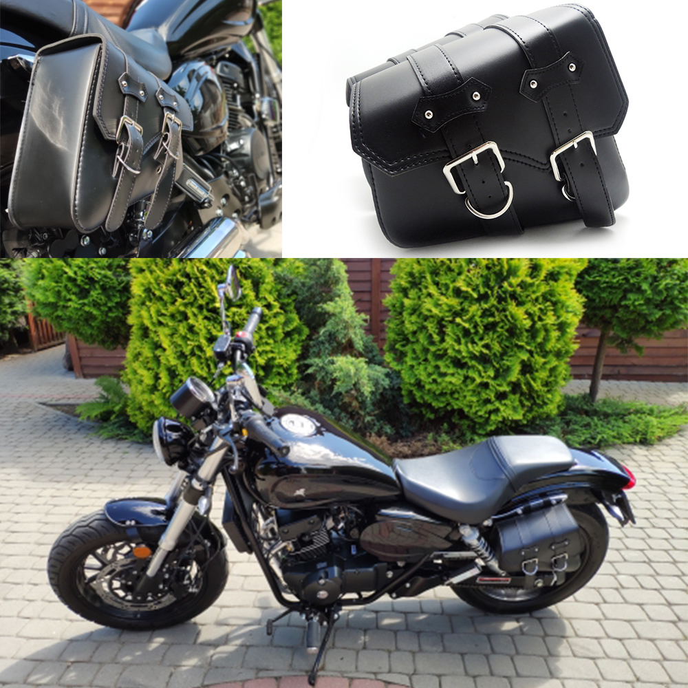 2x Universal Motorcycle Saddlebags PU Leather Saddle Bag For Harley Sportster XL 883 XL1200 Iron
