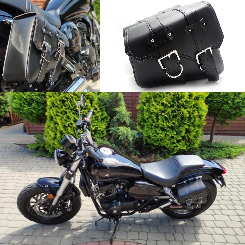 Medium Throw Over Waterproof Saddle Bag for Harley Honda Series Bikes w// Studs
