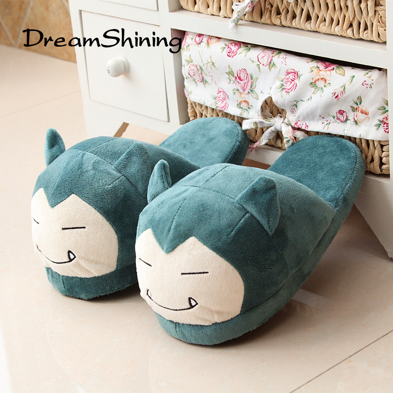 DreamShining Winter Cotton Slippers Indoor Wear Warm Encapsulated Non-Slip Shoes Pokemon Pattern Couple Shoes Pantoufles Femmes купить