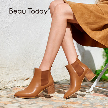 BeauToday Chelsea Boots Women Soft Genuine Calf Leather Pointed Toe High Heel Elastic Band Ankle Length Shoes 03313 new fashion women high heel shoes comfortable side zipper patent leather for women cute mid calf boots pointed toe free shipping