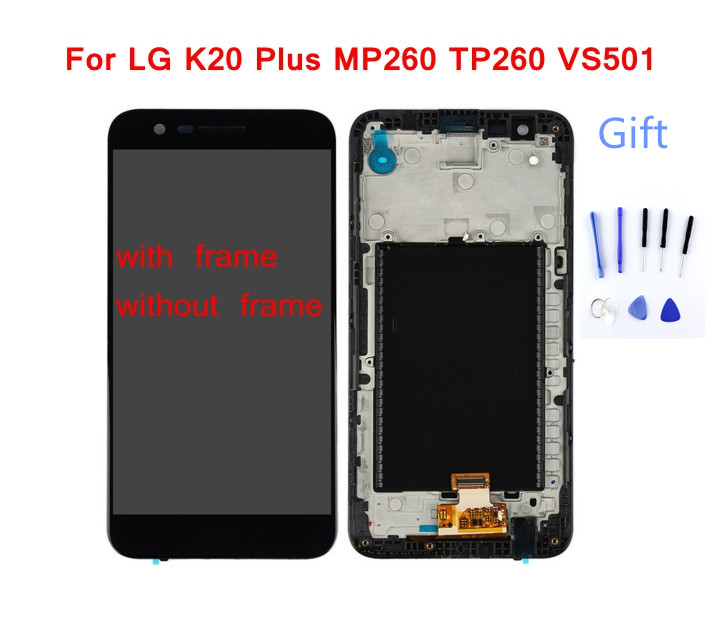 STARDE <font><b>Replacement</b></font> LCD For <font><b>LG</b></font> <font><b>K20</b></font> <font><b>Plus</b></font> MP260 TP260 VS501 LCD Display + Touch <font><b>Screen</b></font> Digitizer Assembly with Frame Black color image