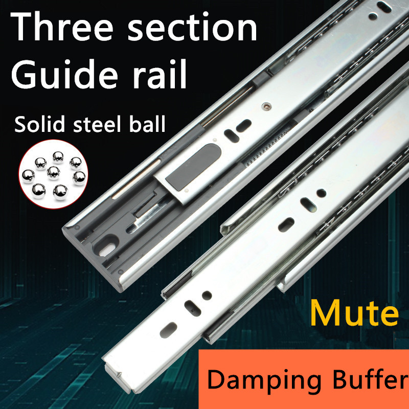 1 Pair HG90V Hydraulic Damping Buffer Furniture Slide Full Extension Drawer Track Slide Guide Rail accessories cloakroom drawer slide track buffer damping rail track mute thickening three wardrobe cabinet hardware accessories