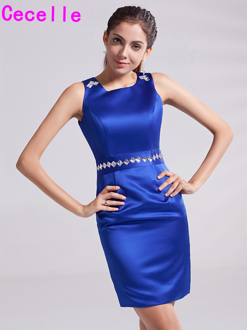 Simple Cheap Royal Blue Sheath   Cocktail     Dresses   Sleeveless Jewel Short Prom   Dresses   Fitted Party   Dresses   For Juniors Custom Made