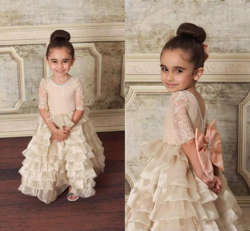 Infant Girls Pageant Clothes Flower Girl Dress for Wedding Little Girls Birthday Dress Half Sleeve Lace with Bow vintage lace baby girl wedding pageant dress infant princess little girls birthday party dress lace big bow sleeveless dress