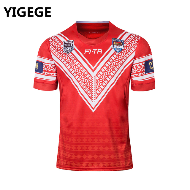f25e6222710 YIGEGE 2018 Tonga Pacific Test Jersey Rugby League shirt TONGA home Rugby  jerseys Shirts s-3XL