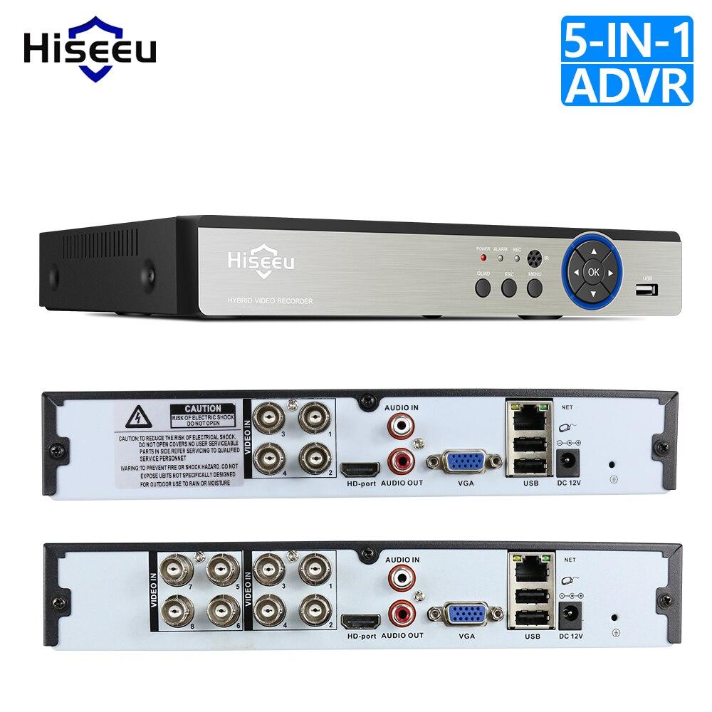 Видеорегистратор Hiseeu, 4 канала, 960 P, 8 каналов, 1080 P, 5 в 1, DVR, для AHD камеры, аналоговая камера, IP камера, P2P, система видеонаблюдения, DVR, H.264, VGA, HDMI