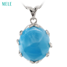 MELE Natural larimar sterling silver pendant, big oval 16mm*18mm, deep blue color larimar fashion  and classical women's pendant