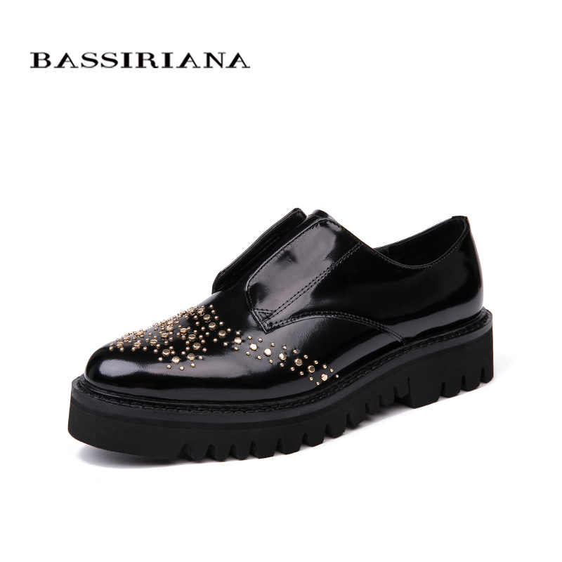 Bassiriana / New 2018 genuine leather Casual without heel women's shoes brand with a round toe cap Black Spring-autumn 35-40 siz