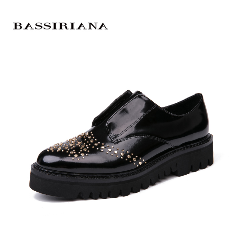 Bassiriana / New 2018 genuine leather Casual without heel women's shoes brand with a round toe cap Black Spring autumn 35 40 siz-in Women's Flats from Shoes    1