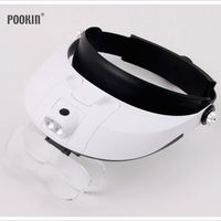 Detachable LED Illuminated Helmet Head Magnifier With 2led Lamp 5 Replaceable lens Dental E. N. T. Magnifying Glasses