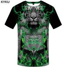 KYKU Tiger Shirt Mens Clothing Animal T-shirt Funny T Shirts 3d T Shirt Men Short Sleeve Oversized Tshirt Fashion Summer Clothes стоимость
