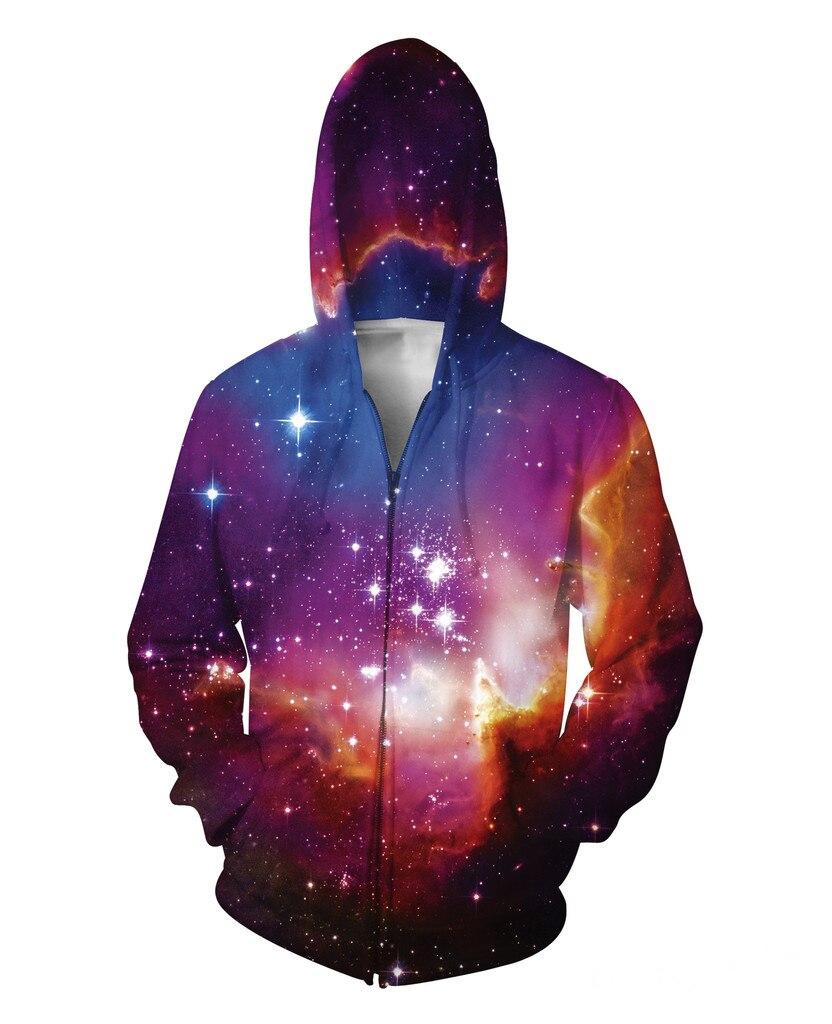 Winter Zip-Up Hoodie Nebula 3D Print Fashion Clothing Women Men Tops Casual Galaxy Space Jumper Outfits Sweatshirts S-5XL R2756