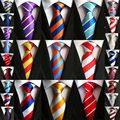 Vendedor de la fábrica 8 cm Clásica de Los Hombres Corbata 100% Seda 2 componentes de Color Rayas Anchas cravatta multicolor Lazos hombre Novio Corbata