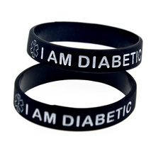 1PC Debossed I am Diabetic Silicone Wristband for Daily Reminder