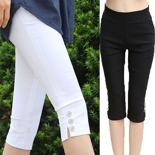 2016 Women's Fashion Summer Sexy Soft nny Stretch Solid Color Capri Pants Leggings