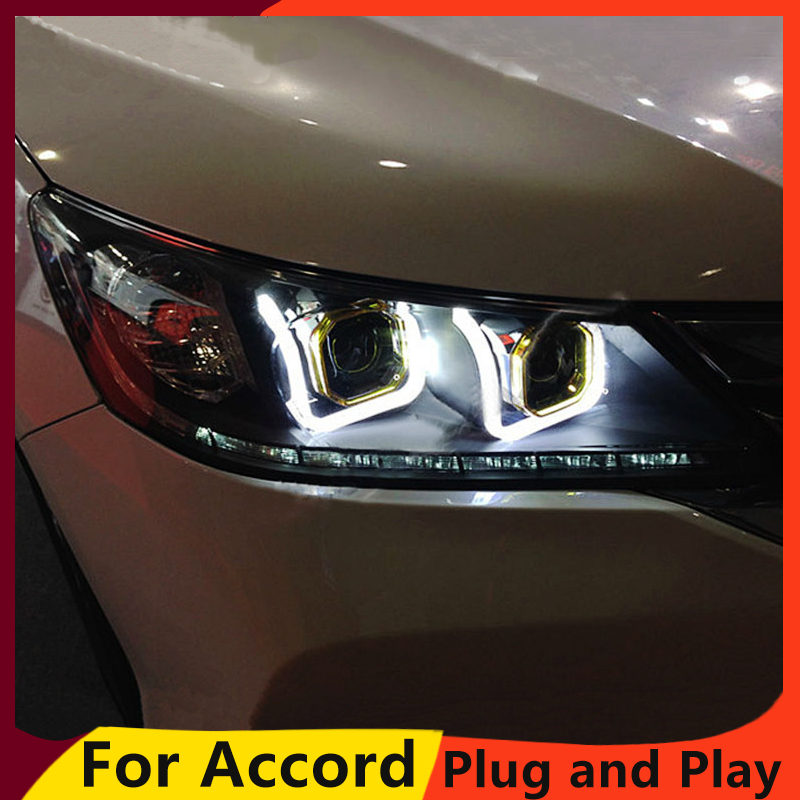 KOWELL car styling for Honda Accord 9 2014 2015 LED headlight for Accord 9th Gen Bi