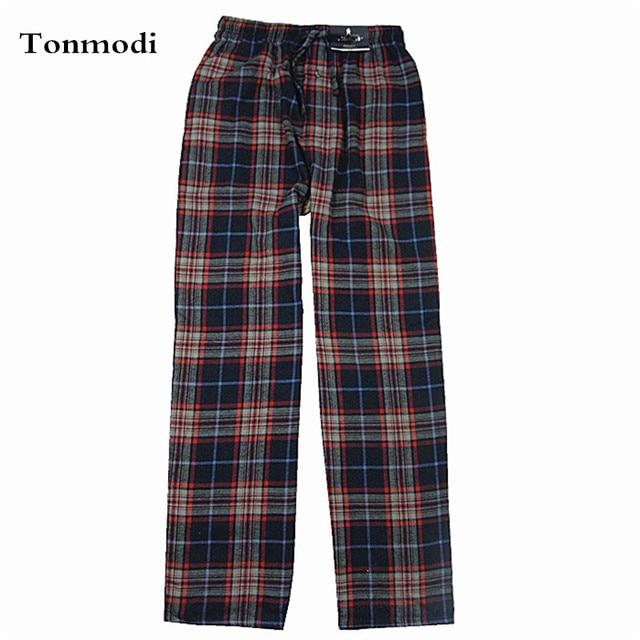 Trousers Men Autumn 100% Cotton Woven Flat Men Flannelette Pajama Pants High Waist Men lounge pants plaid Sleep Bottoms