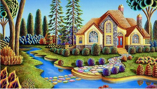 3d Wallpaper Benutzerdefinierten Wandbild Vlies Wandaufkleber Garten Villa  Landschaft Gemälde Wandmalereien Stereograph