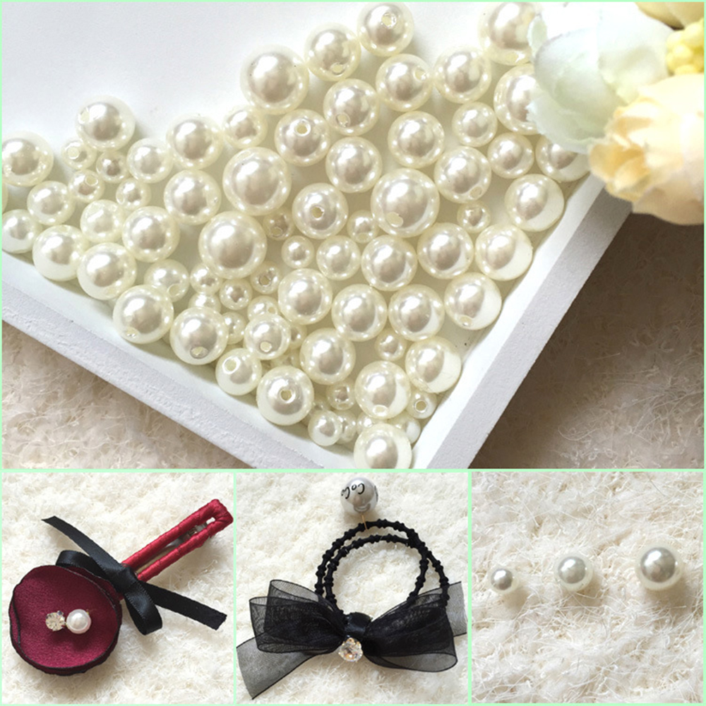 1000PCS Round ABS Imitation Pearl Beads White pearls for crafts DIY Wedding Bracele Bouquet Decoration Jewelry Finding Accessory