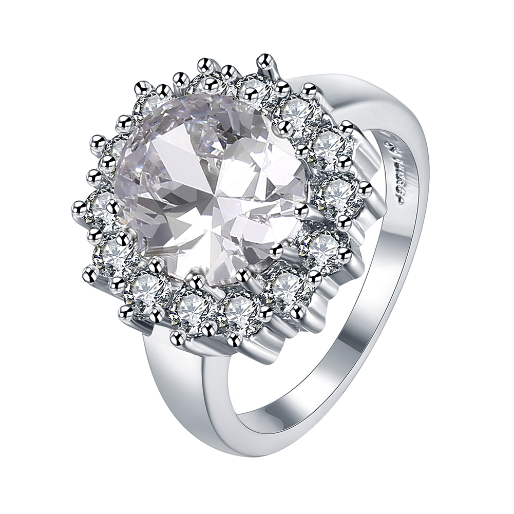 R028-8 Women's Cubic Zirconia Love Promise 18K Real Gold Plated Ring Engagement Wedding Party Gift for Ladies Size 8 Ring
