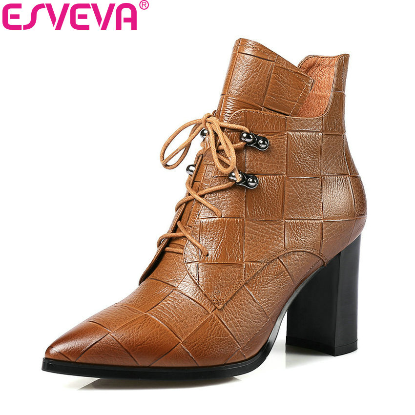 ESVEVA 2018 Women Boots Comfortable Lining Synthetic/PU Square High Heels Ankle Boots PU+Real Leather Ladies Boots Size 34-39 esveva 2018 women boots zippers black short plush pu lining pointed toe square high heels ankle boots ladies shoes size 34 39