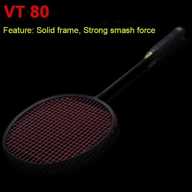 30LBS ZARSIA Attack VT80 46T 4U Badminton Racket 100% carbon badminton racquet Free shipping black badminton racket
