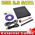 Mais novo atacado loja portátil fino USB 2.0 DVD CD DVD Rom SATA caixa externa para computador portátil Notebook
