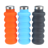 Retractable Portable 500ML Silicone Water Bottle Folding Coffee Bottle Outdoor Travel Drinking Collapsible Sport Drink Kettle 5B