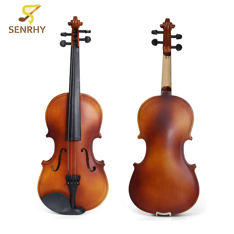 SENRHY 4/4 Full Size Natural Wooden Acoustic Fiddle Violin with Case Cover For Musical Stringed Instruments Lover Beginner Gift tongling brand natural flamed maple acoustic violin 4 4 3 4 antique matt violino full size musical instrument with accessories