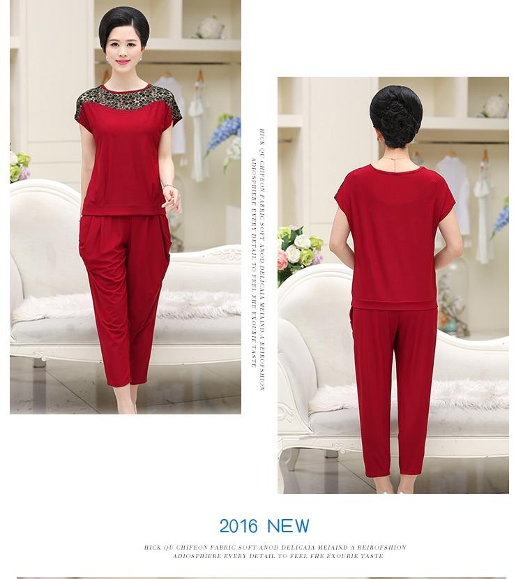 2019 Summer New Middle-Aged Women Lace Suit Set Short-Sleeved O- Neck Fashion Women Set W478 13