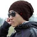 Men Winter Skull Chunky Women Knit Beanie Reversible Baggy Cap Warm Unisex Hat-J117
